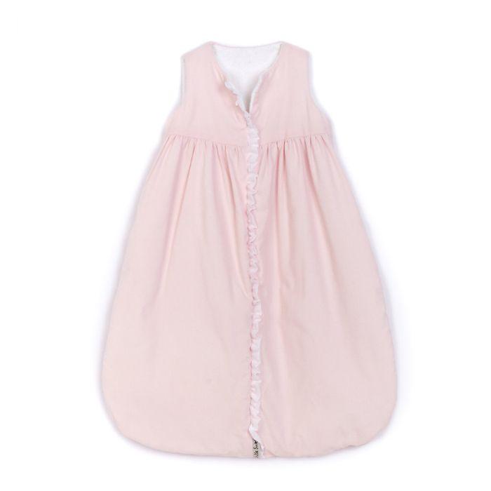 Lulla Smith Corduroy Sleep Sack in Pink with White Batiste Trim by Lulla Smith