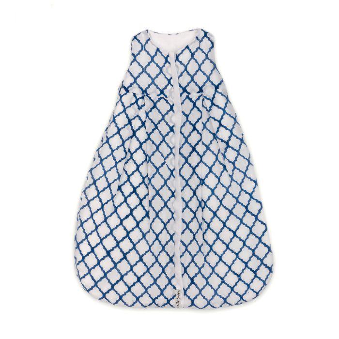 Lulla Smith Cotton Sleep Sack in White with Blue Diamond Block Print by Lulla Smith