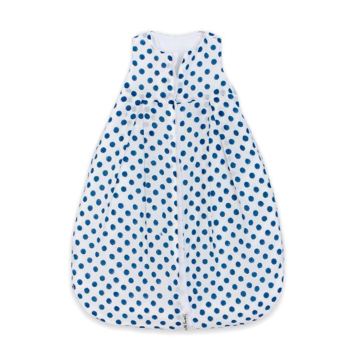 Lulla Smith Cotton Sleep Sack in White With Blue Dots Block Print by Lulla Smith