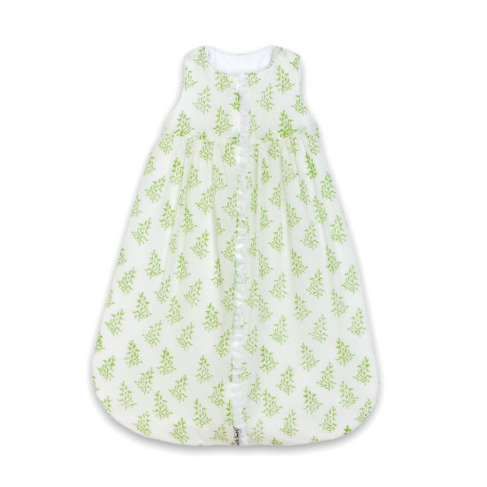 Lulla Smith Cotton Sleep Sack in White With Green Flowers Block Print by Lulla Smith