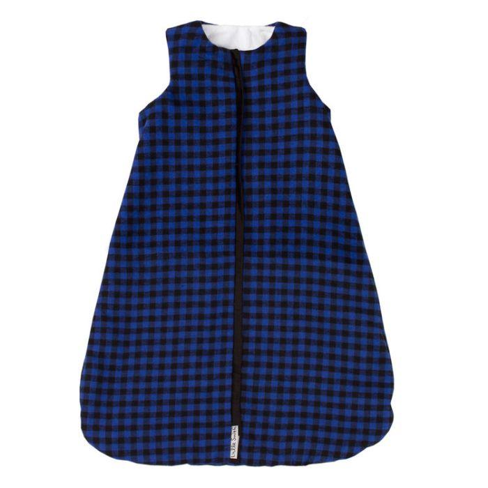 Lulla Smith Flannel Sleep Sack in Blue & Black Check Flannel with Black Trim by Lulla Smith