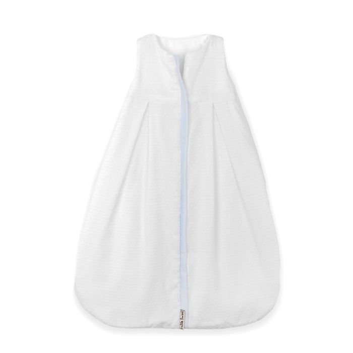 Lulla Smith Dotted Swiss Sleep Sack in White  With Blue Trim by Lulla Smith