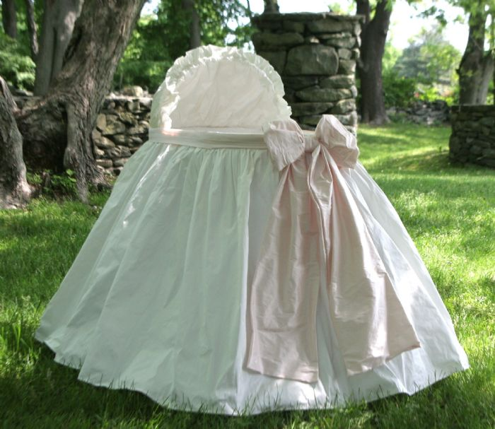 Angel Baby Bassinet Pink in Silk Dupioni by Lulla Smith