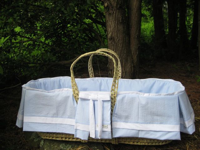 Max Moses Basket in Seersucker by Lulla Smith