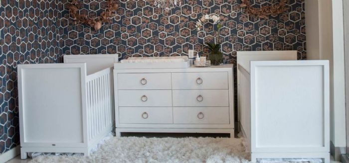 Artisan Glam Twin Nursery Room Inspiration by Newport Cottages