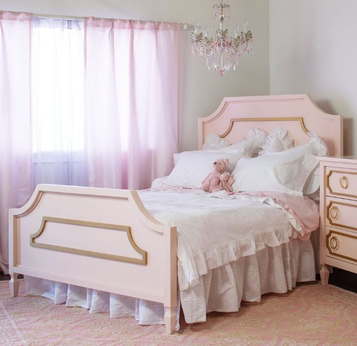 Beverly Bed in Pale Pink with Gold by Newport Cottages