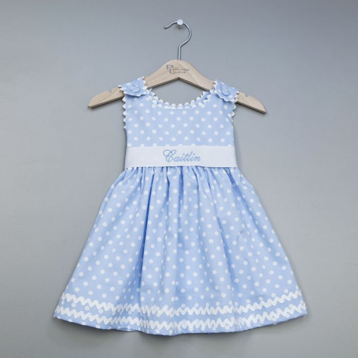 Personalized Polka Dot Pique Sash Dress in Light Blue by Princess Linens