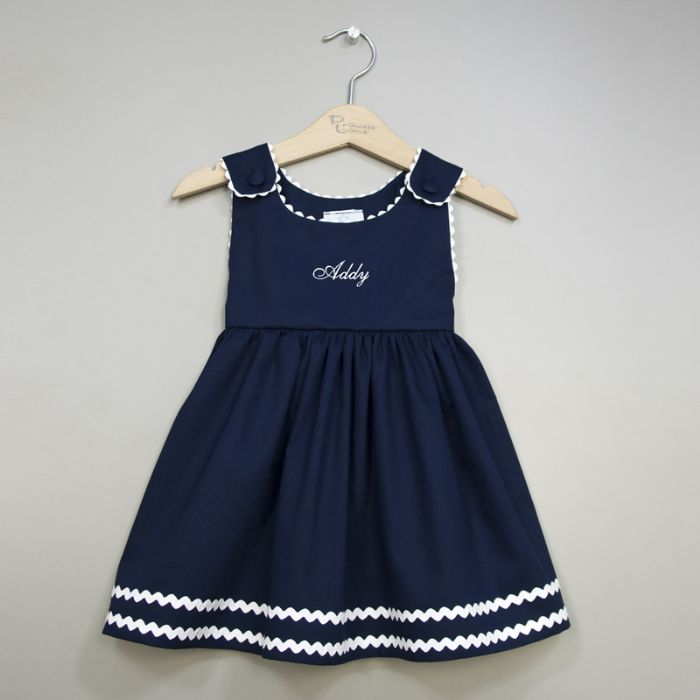Personalized Pique Dress in Navy & White by Princess Linens