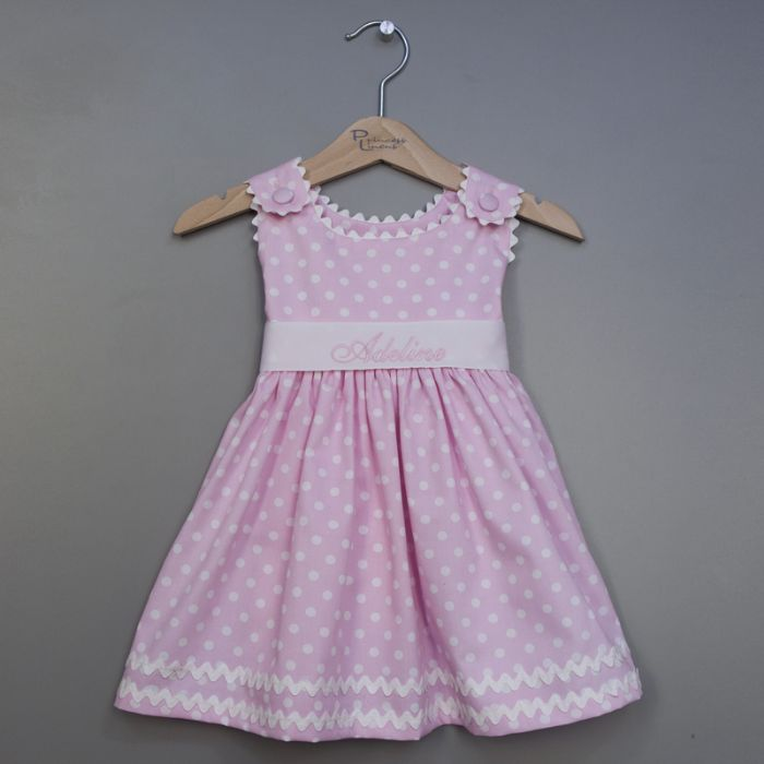 Personalized Polka Dot Pique Sash Dress in Pink by Princess Linens