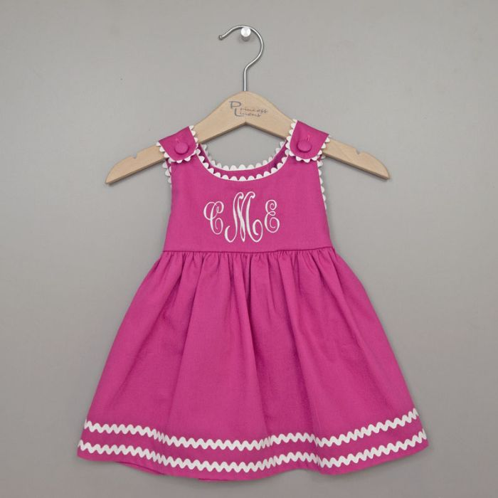 Personalized Pique Dress in Pink with White by Princess Linens