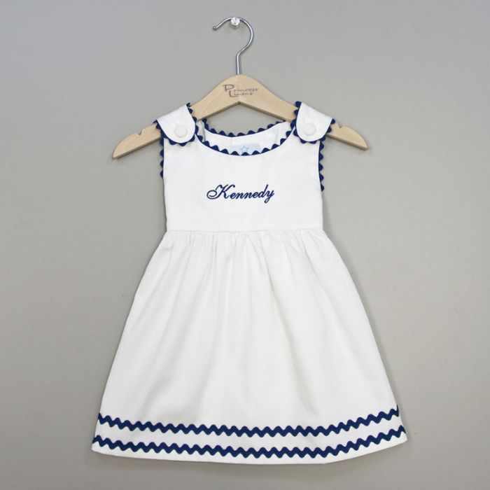 Personalized Pique Dress in White with Navy by Princess Linens