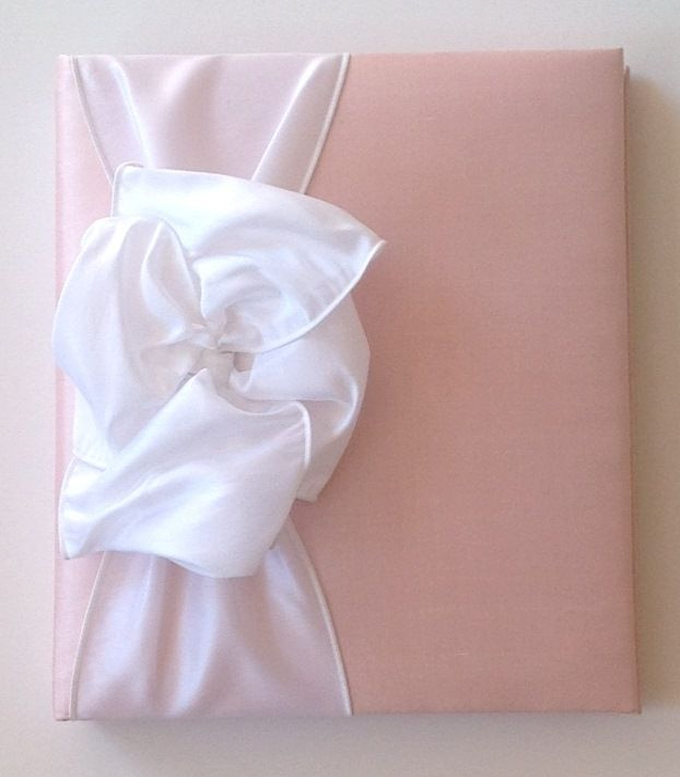 Pink Silk with Large White Bow Baby Book by Jan Sevadjian Designs
