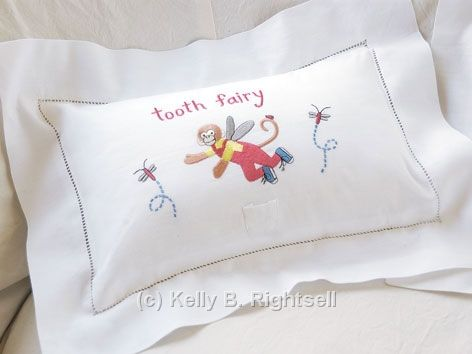 Tooth Fairy Monkey Boy Pillow by Kelly B. Rightsell