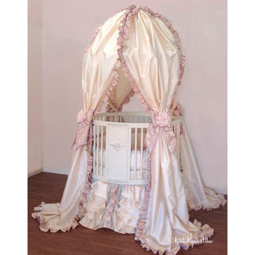 Valentina Canopy Round Crib Baby Bedding By Little Bunny Blue