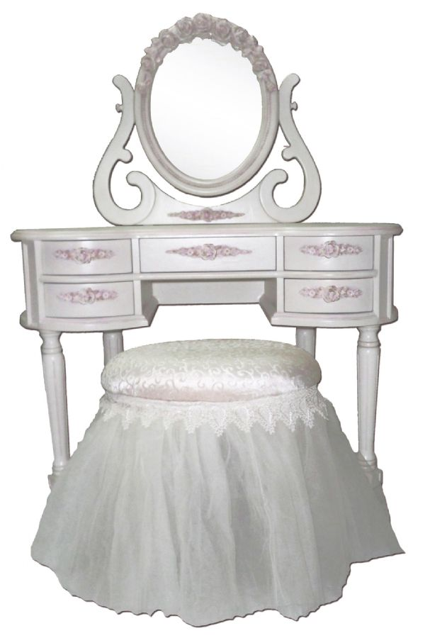 French Rose Vanity with Mirror by Villa Bella