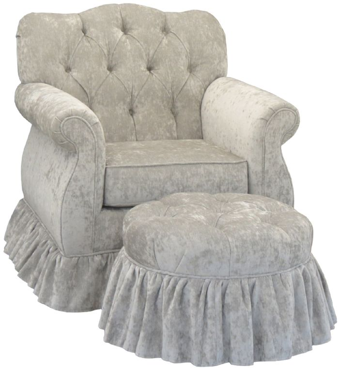 Versailles Velvet Empire Tufted Glider in Silver by Angel Song