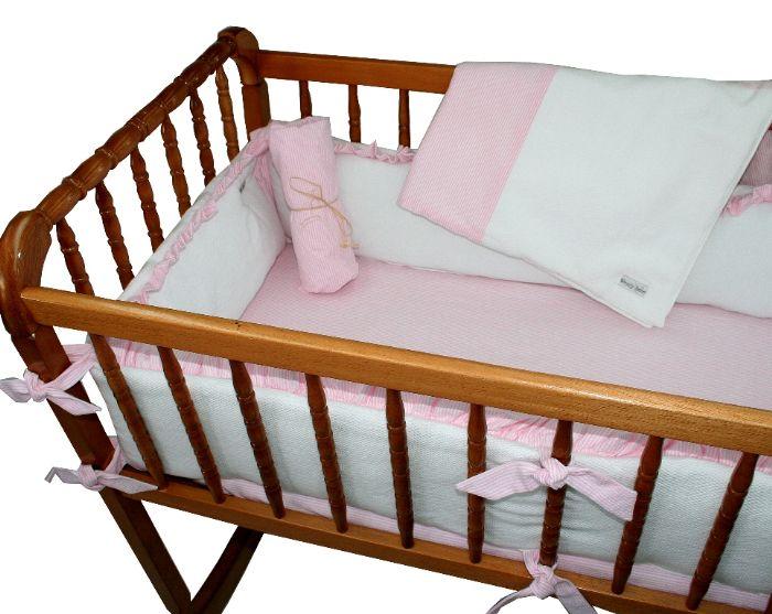White Pique with Pink Seersucker Cradle Bedding by Wendy Anne
