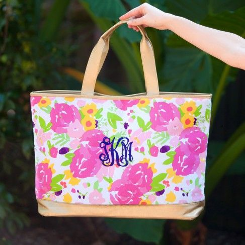 Cabana Tote Bag in Floral by Monogram Boutique