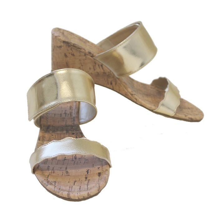 Wedge Sandal in Gold by Monogram Boutique