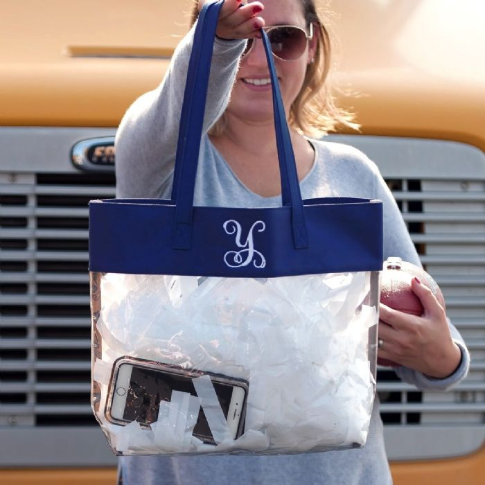 Clear Tote in Navy by Monogram Boutique