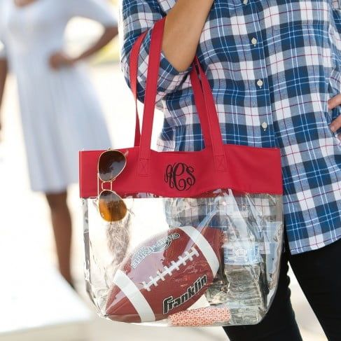 Clear Tote in Red by Monogram Boutique
