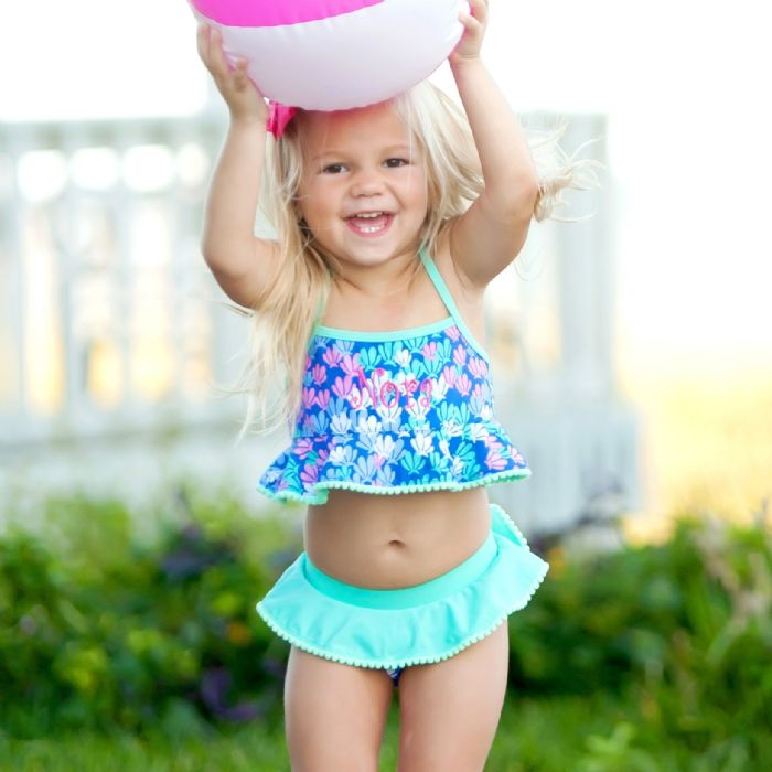 Girls Swimsuit Set with Ruffles by Monogram Boutique