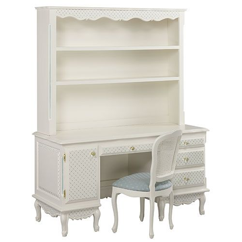 French Computer Desk with Hutch in Crosshatch by AFK Art For Kids