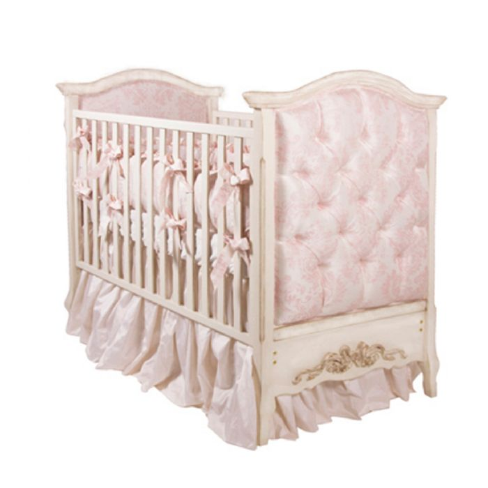 Bordeaux French Panel Upholstered Crib in Versailles with Pink Damask by AFK Art For Kids