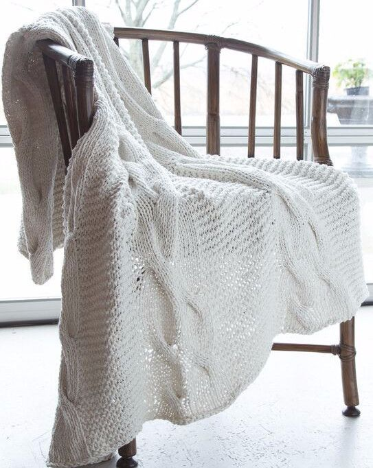Chunky Cotton Cable Blanket by ASI