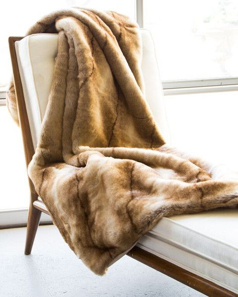 Faux Fur Throw Blanket in Coyote by ASI