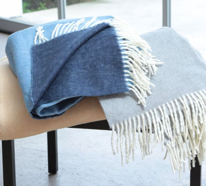 Double Face Solid Throw with Fringe by ASI