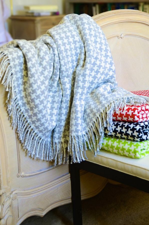 Houndstooth Fringed Plush Throw by ASI