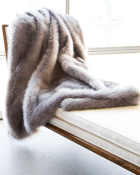 Faux Fur Blanket in Silver Fox by ASI