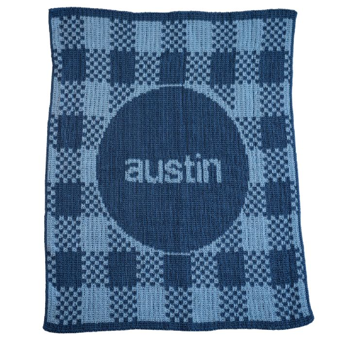 Gingham Name Blanket by Butterscotch Blankees