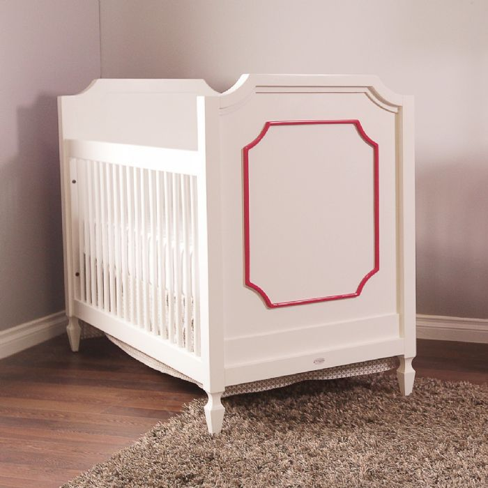 Beverly Crib in White with Raspberry by Newport Cottages