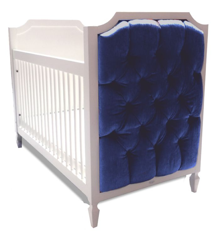 Beverly Crib with Tufted Panels in Majestic Blue Velvet by Newport Cottages