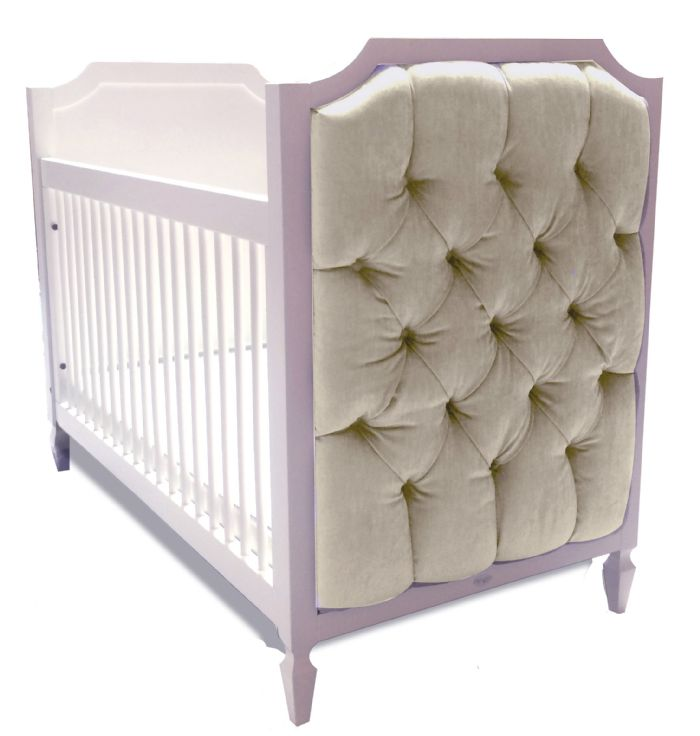 Beverly Crib with Tufted Panels in Sugar Cookie Velvet by Newport Cottages