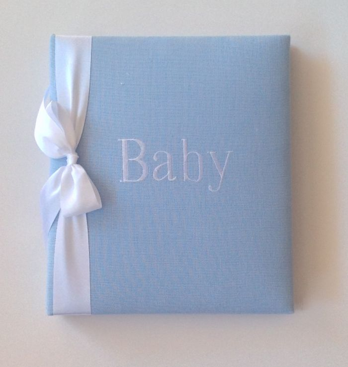 Blue Linen with White Satin Ribbon Baby Book by Jan Sevadjian Designs