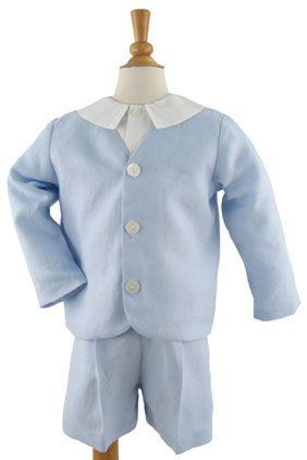 Linen Eton Suit- Short in Lt Blue by Katie & Co/Gordon & Co