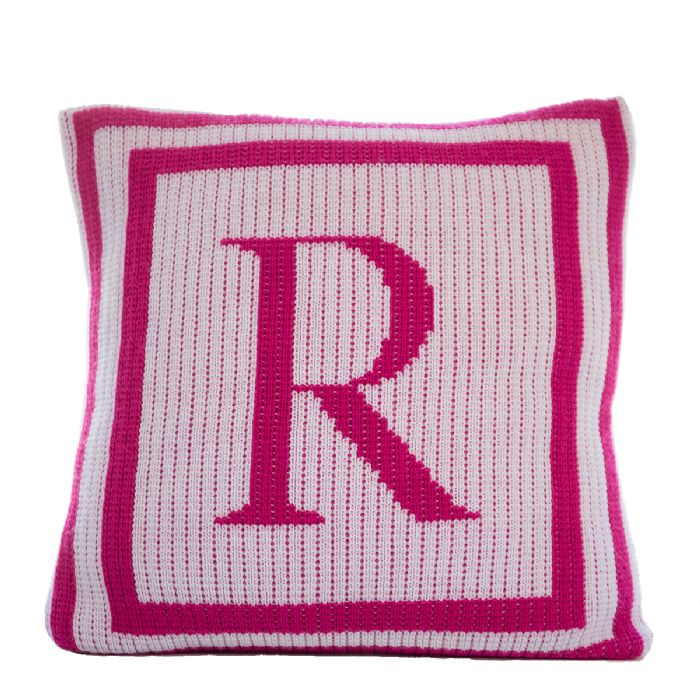 Classic Monogram Double Border Pillow by Butterscotch Blankees