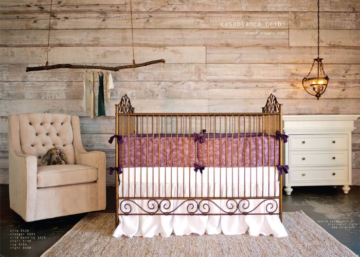 French Wrought Iron- Casablanca 3 in 1 Crib Vintage Gold by Bratt Decor