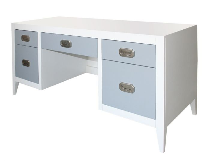 Devon Double Pedestal Desk in White with French Grey by Newport Cottages
