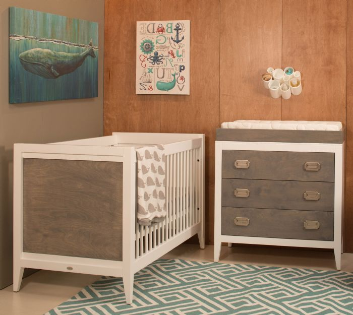 Casey Crib in White with Misty Grey Stain by Newport Cottages