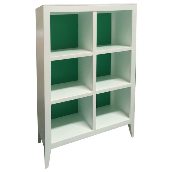 Devon Bookcase in White and Kelly Green by Newport Cottages