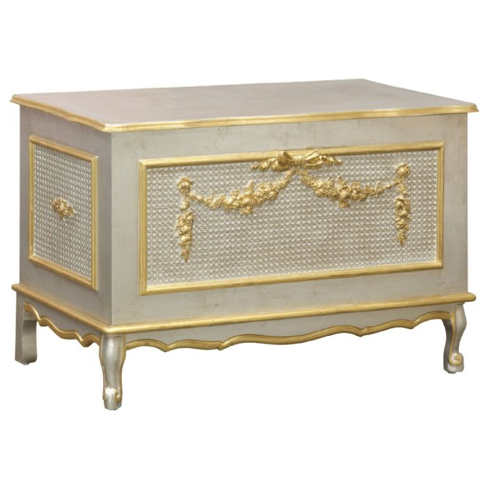 French Toy Chest Caning in Silver with Gold Gilding by AFK Art For Kids