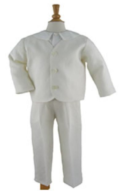 Gabardine Eton Suit with Long Pants in Ivory by Katie & Co/Gordon & Co