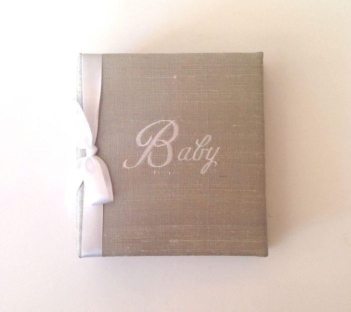 Grey Silk with White Ribbon Photo Album by Jan Sevadjian Designs