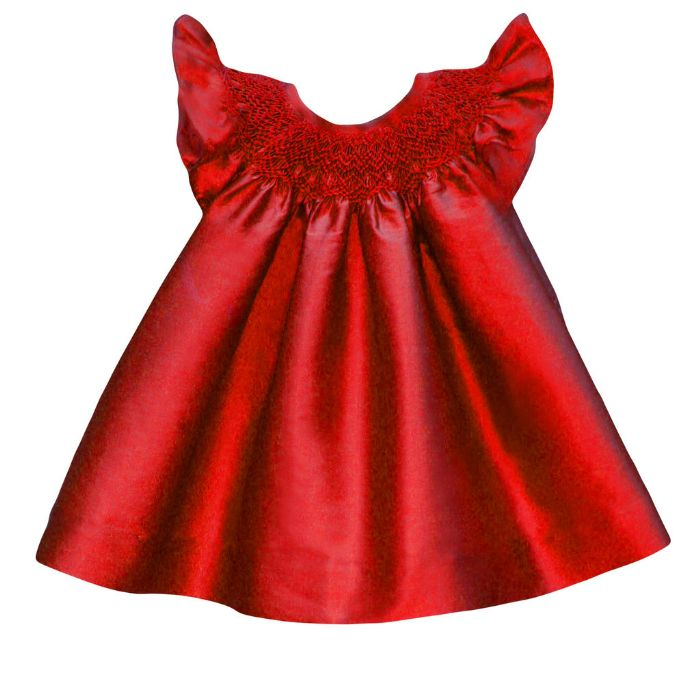 Hand Smocked Baby Bishop Dress in Red Silk by Isabel Garreton