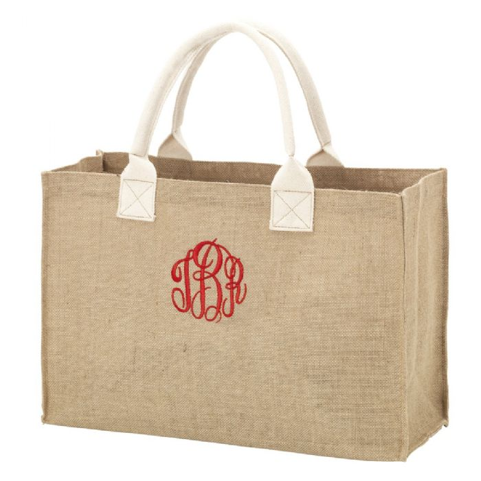 Burlap Tote by Monogram Boutique