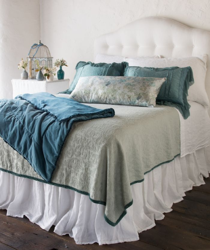 Adele in Cenote and Eucalyptus Bella Notte Linens Bedding by Bella Notte Linens